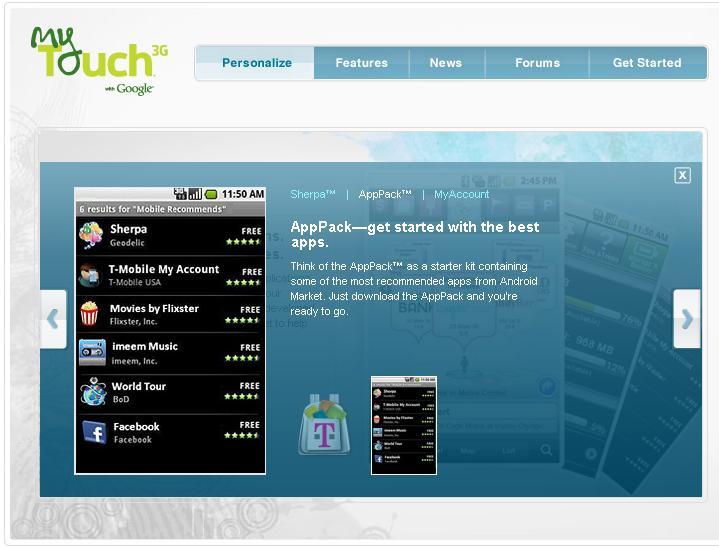 T-Mobile myTouch 3G AppPack