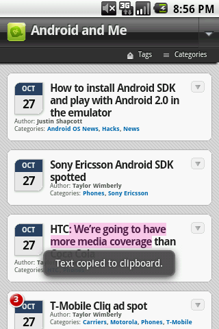 Android 2.0 screenshot - text copy - Android and Me