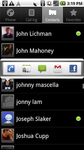 Android 2.0 Screenshot - Contacts - Gizmodo