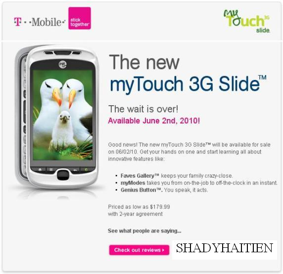 myTouch 3G Slide - Pricing and Availability