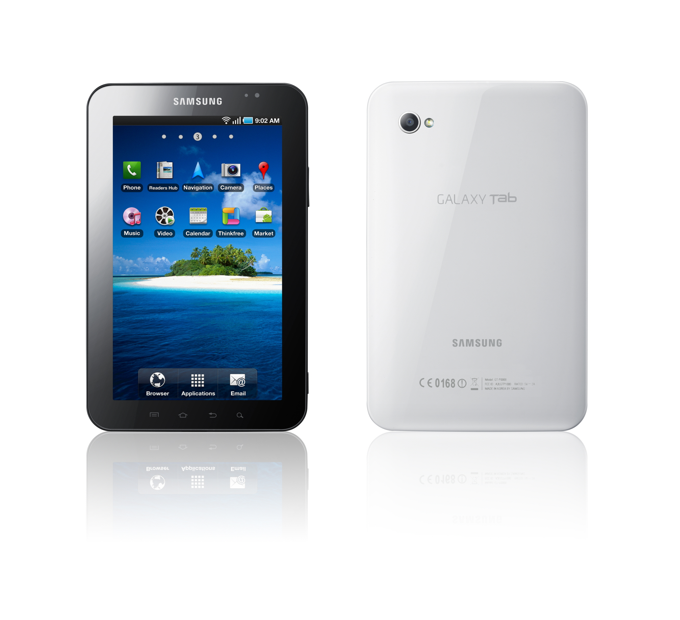Samsung Galaxy Tab - Front and Rear View
