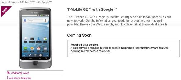 T-Mobile G2 with Google - Android Phone - Coming Soon