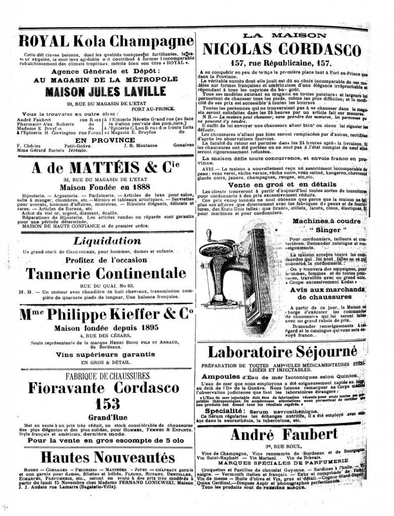 Le Matin, Port au Prince, 27 November 1909, Page 4
